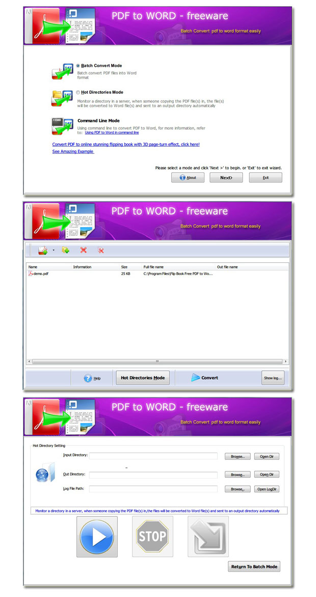 Click to view Page Turning Free PDF to Word 2.6 screenshot