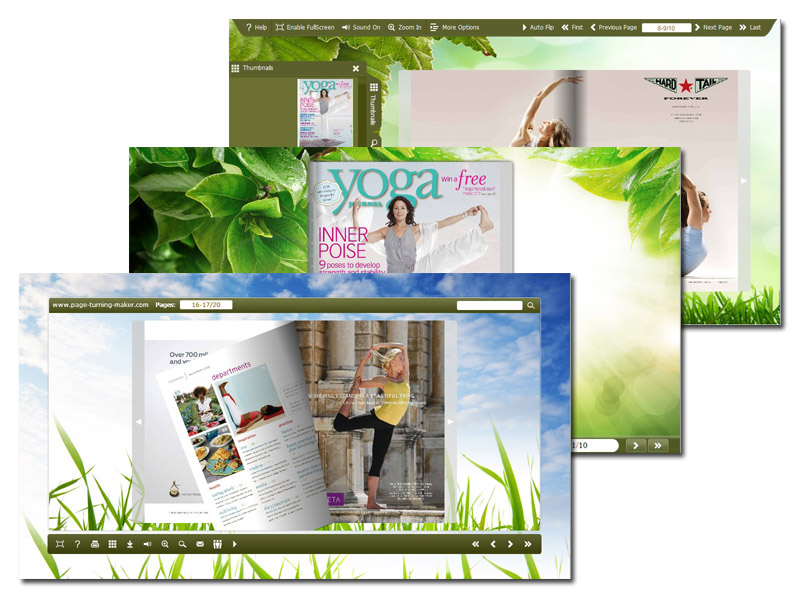 Windows 7 Page Turning Book Theme in Greenery Style 1.0 full