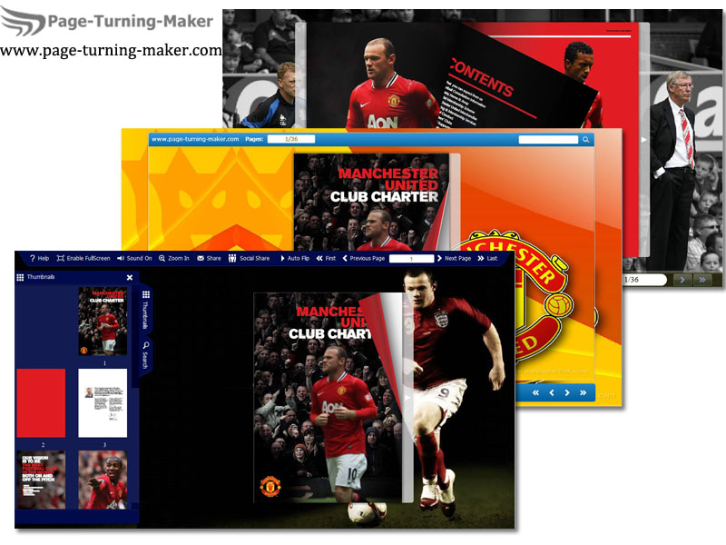 Man Utd FC template for page turning book