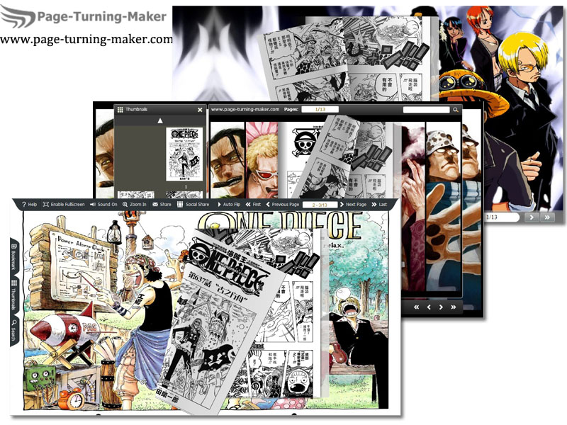 Windows 7 One Piece Theme for Page Turning Book 1.0 full